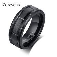 Zorcvens clássico masculino 8mm preto carboneto de tungstênio casamento anel banda tijolo padrão acabamento escovado