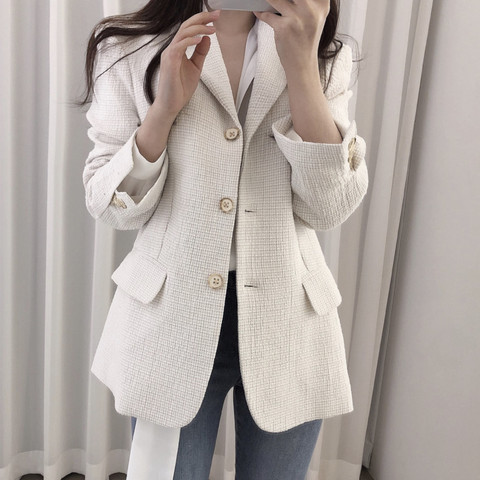 Women Wool tweed Blazers coat 2019 New Fashion Spring Autumn Long Sleeve Suit Jacket Coat Outerwear Lahore