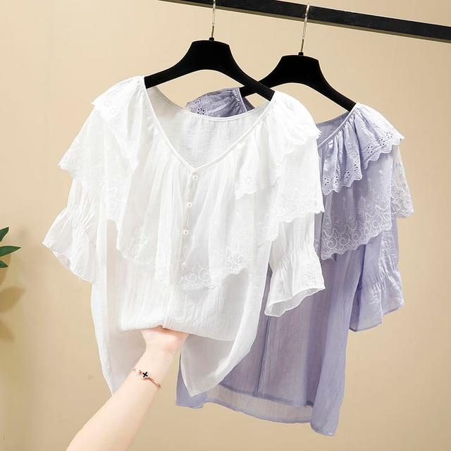 Women Spring Summer Style Chiffon Blouses Shirts Lady Casual Short Sleeve Ruffles Decor V-Neck Chiffon Blusas Tops DF3818 4