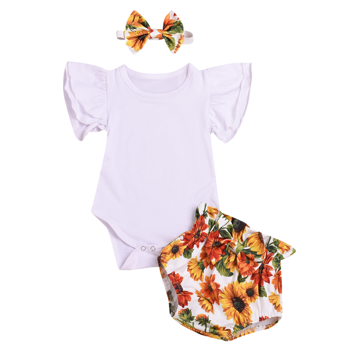 2020 New Newborn Baby Clothing Set  3pcs Newborn Toddler Baby Girl Romper Top Shorts Headband Clothes Outfit Set