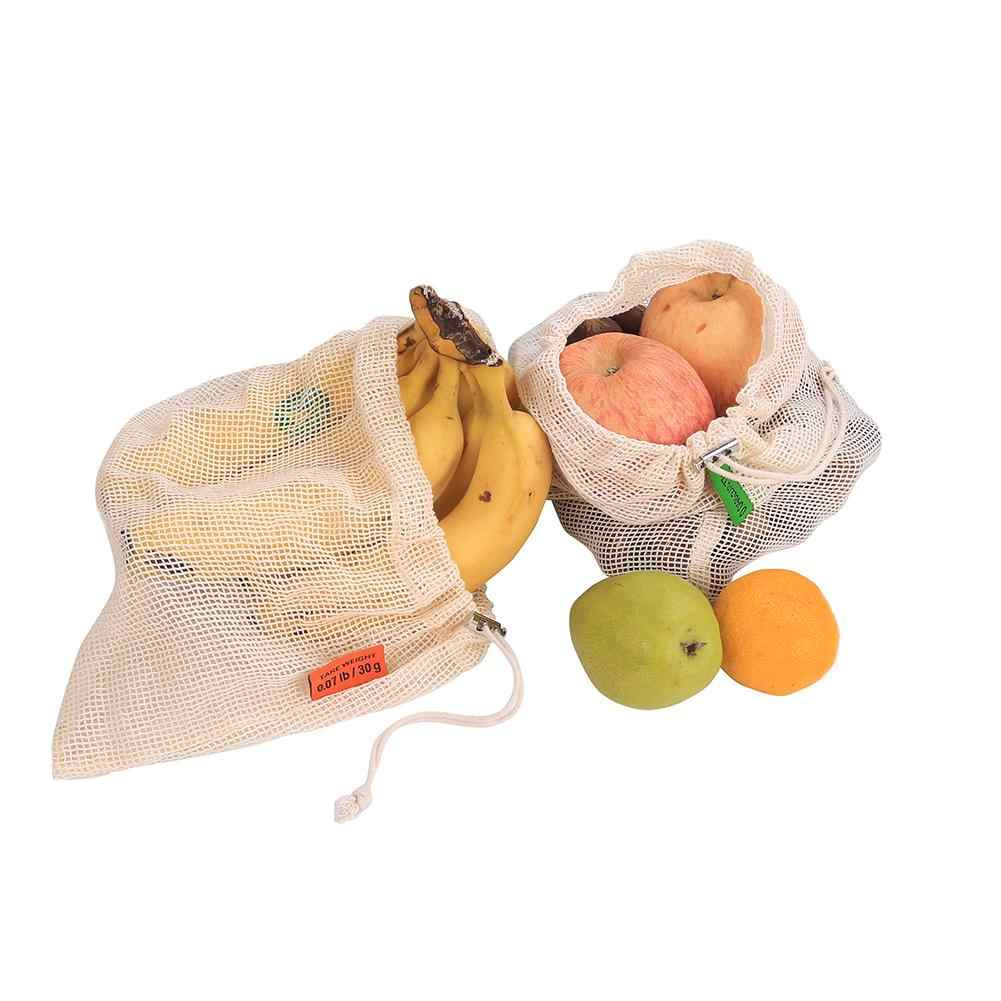 قابلة لإعادة الاستخدام القطن الخضار حقائب من القماش الشبكي بقالة التسوق تخزين ألعاب بشكل فواكه تخزين أكياس مع الرباط آلة قابل للغسل