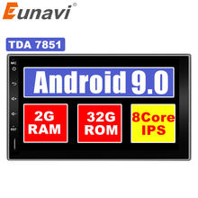 Eunavi 2 Din Android 9.0 Car Tap PC Tablet Universal Multimedia Radio Stereo Audio Player GPS Navigation IPS touch screen no dvd(China)