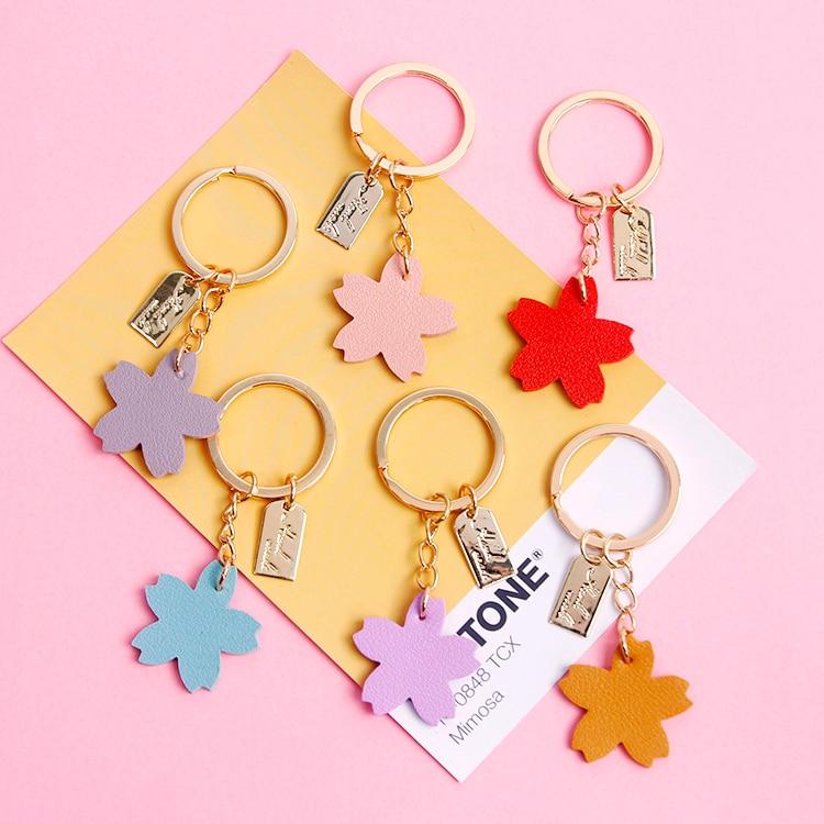 1pc Sakura Leather Cherry Blossom Keyring Keychain Decoration Bag Hanging Pendant Car Key Presents