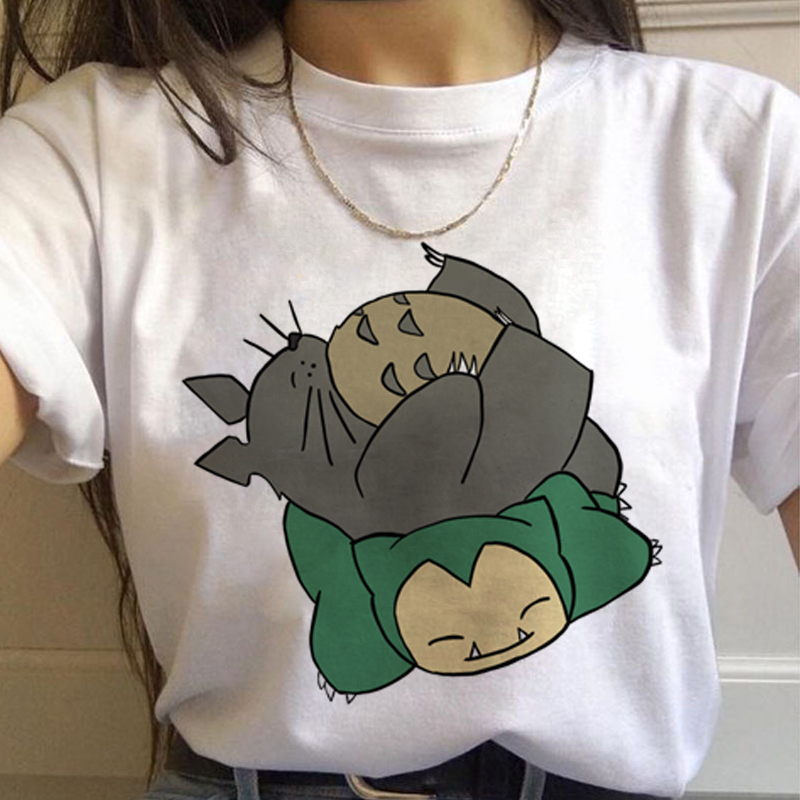 Harajuku T-Shirt Miyazaki Hayao Studio Ghibli Totoro 90s Anime Ullzang Women Kwaii Female