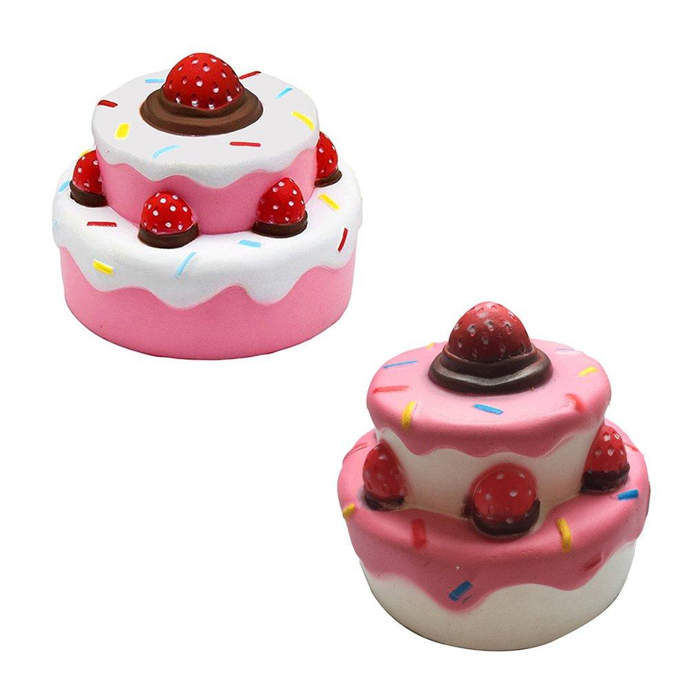 Мягкий медленный отскок три-Слои клубничный торт игрушка с медленным восстановлением формы и три-Слои клубника имитация торта модель