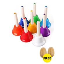 лучшая цена Free ship 1 set 8 note tone children kids metal tinkle bell set percussion shaker Orff musical instrument music early education