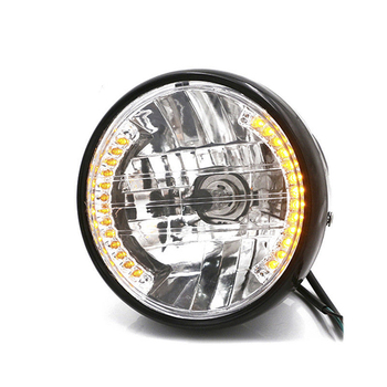 Universal 7Inch Motorcycle Headlight 12V LED Turn Signal Light Yellow light For Motorcycle modification 6 5inch universal retro motorcycle modification led headlight lamp with guard cover yellow driving light gn125 250