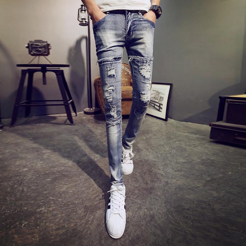 Men's Skinny With Holes Jeans Elasticity Slim Fit Beggar Pants Scraping Rotten Cool Tight Trousers Casual NZK Fashion