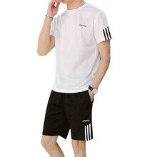 Męski dres codzienny z krótkim rękawem bieganie sportowe t shirty sportowe i spodenki 2 szt. Komplet garniturów dres treningowy męski