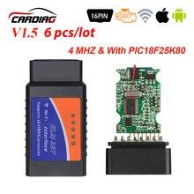 6 stücke OBD2 Elm327 V 1,5 Bluetooth/WIFI Auto Diagnose Werkzeug V 1,5 OBD 2 ulme 327 Für Android/IOS/Windows OBDII Chip PIC18F25K80