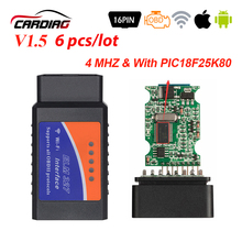 6pcs OBD2 Elm327 V1.5 블루투스/WIFI 자동차 진단 도구 V 1.5 OBD 2 elm 327 안 드 로이드/IOS/Windows OBDII 칩 PIC18F25K80
