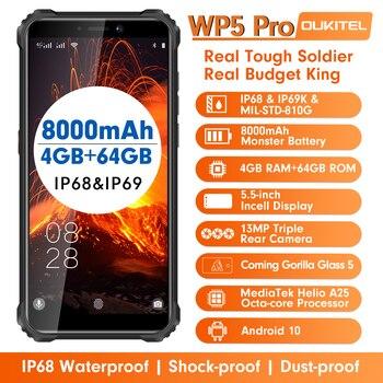 Купить Смартфон OUKITEL WP5 Pro, IP68 водонепроницаемый, 4 Гб 64 ГБ, мобильный телефон, 8000 мАч, Android 10, тройная камера, распознавание лица и отпечатков пальцев, 5...