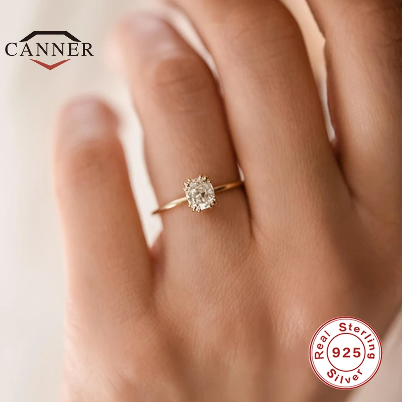 CANNER Real 925 Sterling Silver Fashion Mini Zircon Engagement Ring for Women Rings Female Gold Color Fine Jewelry Gift anillos