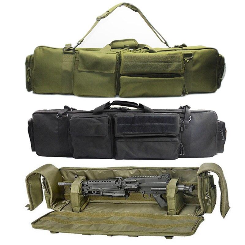 צבאי אקדח תיק תרמיל כפול רובה תיק מקרה עבור מסור M249 M4A1 M16 AR15 Airsoft קרבין נשיאת תיק מקרה עם כתף רצועה