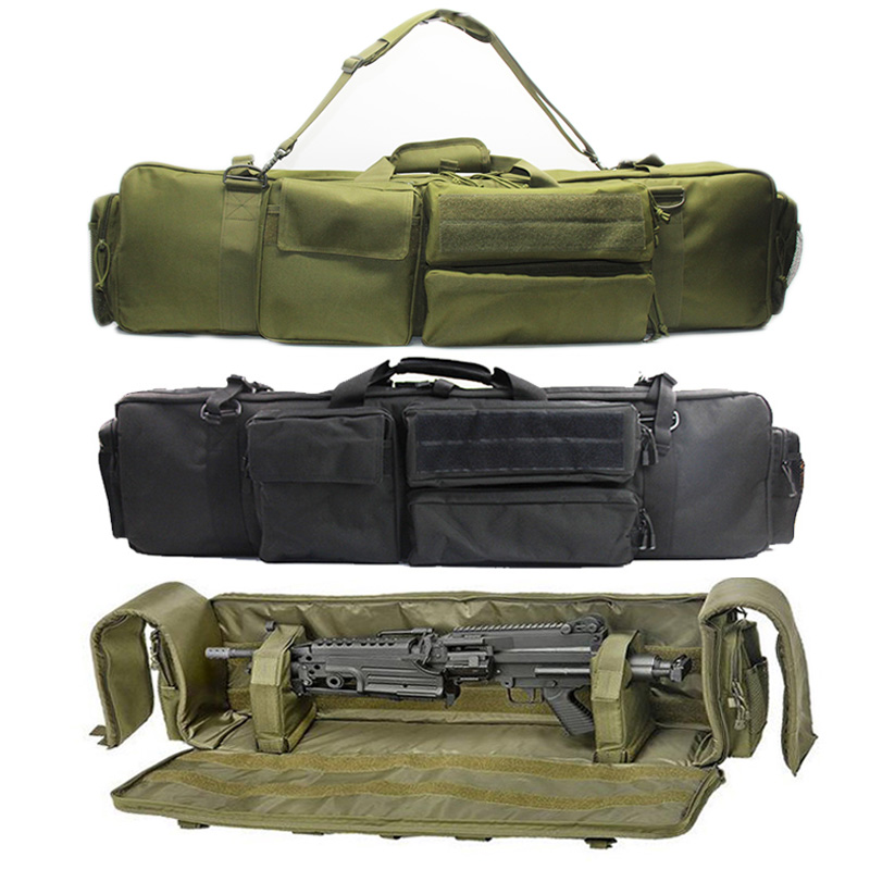 Military Gun Bag Backpack Double Rifle Bag Case For SAW M249 M4A1 M16 AR15 Airsoft Carbine Carrying Bag Case With Shoulder Strap(China)