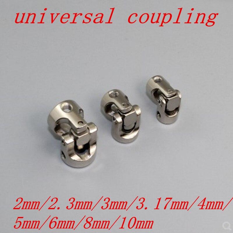 1pc 2 milímetros 2.3 milímetros 3 milímetros 3.17 milímetros 4 milímetros 5 milímetros 6mm 8mm 10mm barco de Metal Cardan Cardan Acoplamentos Junta Universal Conector com parafuso