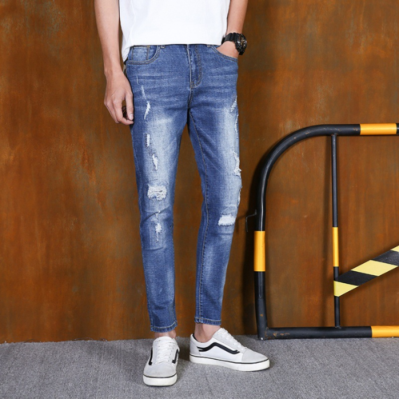 2019 Spring Summer New Style Men Capri Jeans Men's Slim Fit Skinny Pants With Holes Ripped Jeans Korean-style Trend
