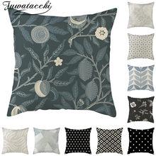 Fuwatacchi keten geometrik desen minder örtüsü siyah gri çiçek fotoğraf yastık kılıfı ev kanepe sandalye dekoratif yastık kılıfı