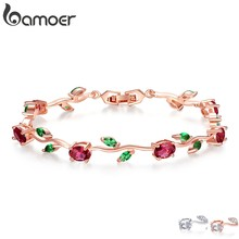 BAMOER Rose Gold Color Leaf Chain & Link Bracelet with Red + Green AAA Zircon for Mother Gifts Jewelry JIB072(China)
