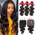Queenlife 3/4 пучок с закрытием волнистые человеческие волосы пряди для черных женщин Пряди с фронтальным бразильским наращивание волос