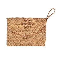 Straw Clutch Purse Women Wristlet Handbag Envelope Bag Large Wallet Summer Beach