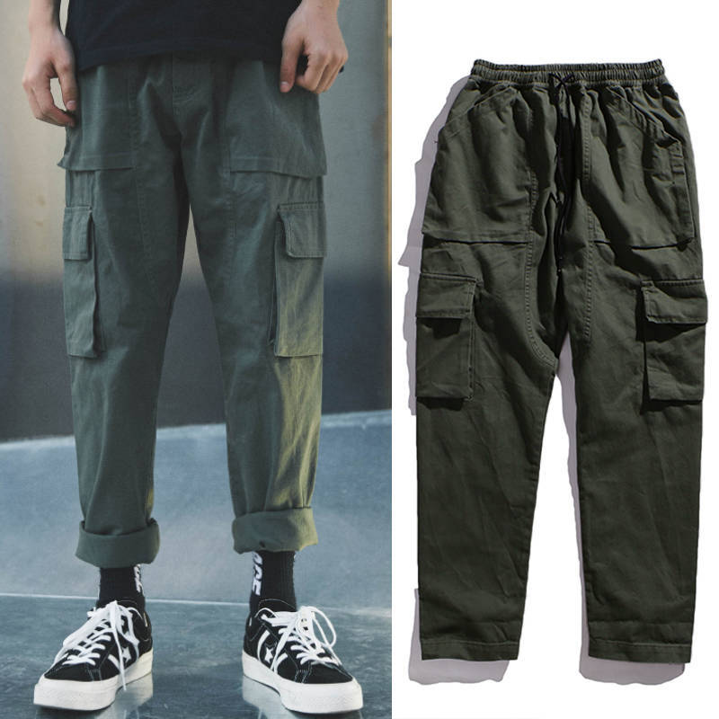 INS Four Seasons Hong Kong Style Trend Students Korean-style Loose-Fit Capri Pants Men Skinny Workwear Teenager Casual Pants