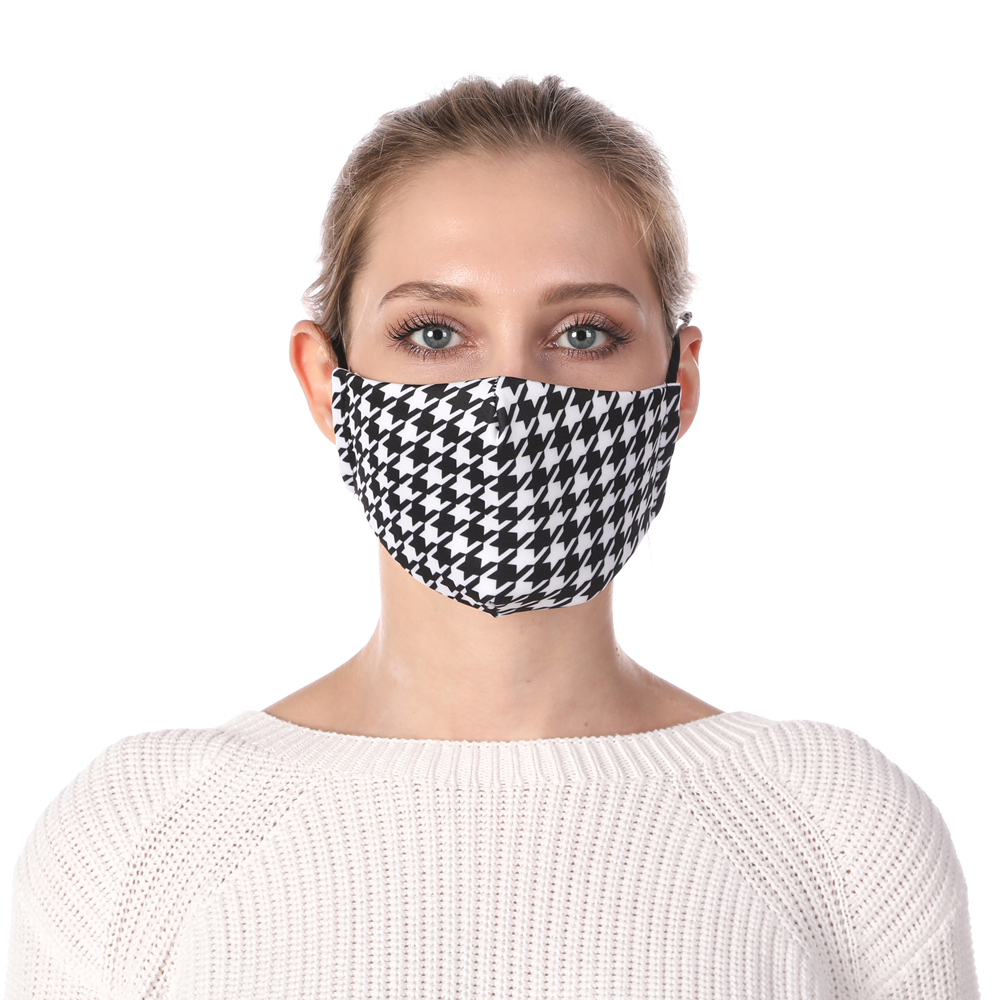 Zohra Houndstooth Printing Reusable Protective PM2.5 Filter Mouth Mask Anti Dust Mask Windproof Adjustable Face Masks