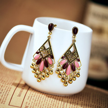 National wind restoring ancient ways alloy set auger golden water droplets women fashion earrings jewelry