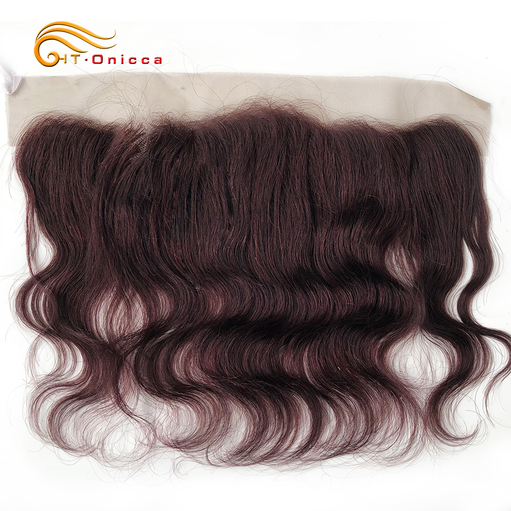 Htonicca Lace Closure Human-Hair Bodywave-Frontal Natural-Color 8inch 4x4 13x4