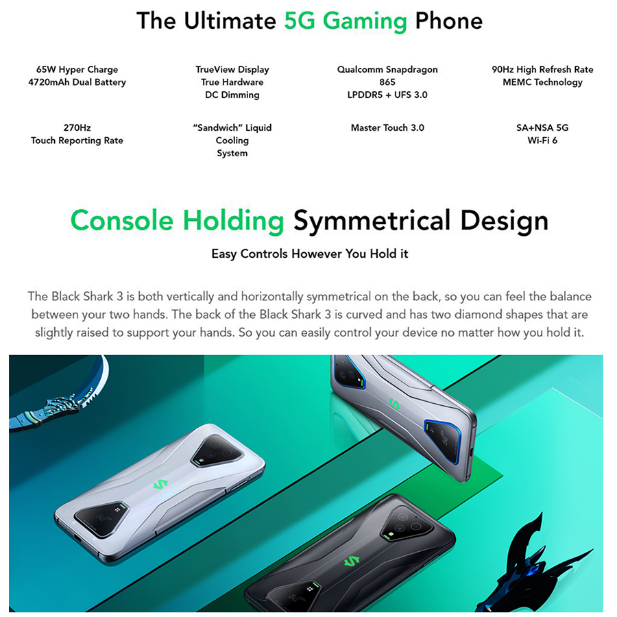Global Version 5G Game Phone Xiaomi Black Shark 3 Mobile Phone 6.67