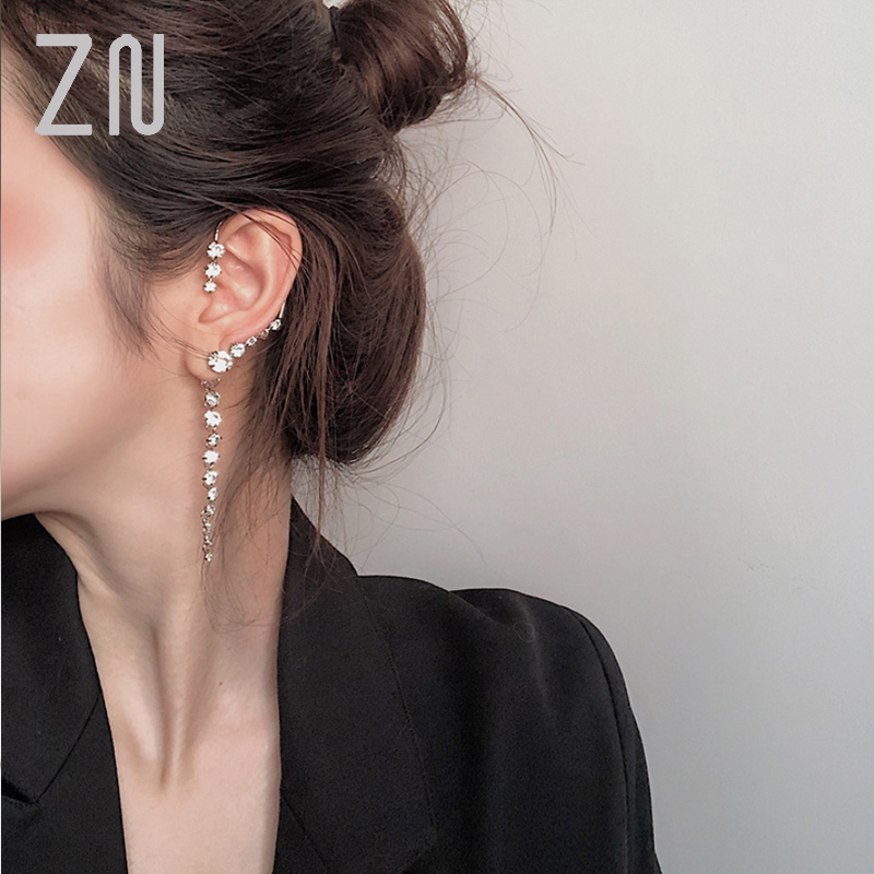 ZN Fashion 1pc Big Ear Cuff Earrings Women New Statement Shinning Crystal Hanging Earrings Handmade Party Jewelry Gifts