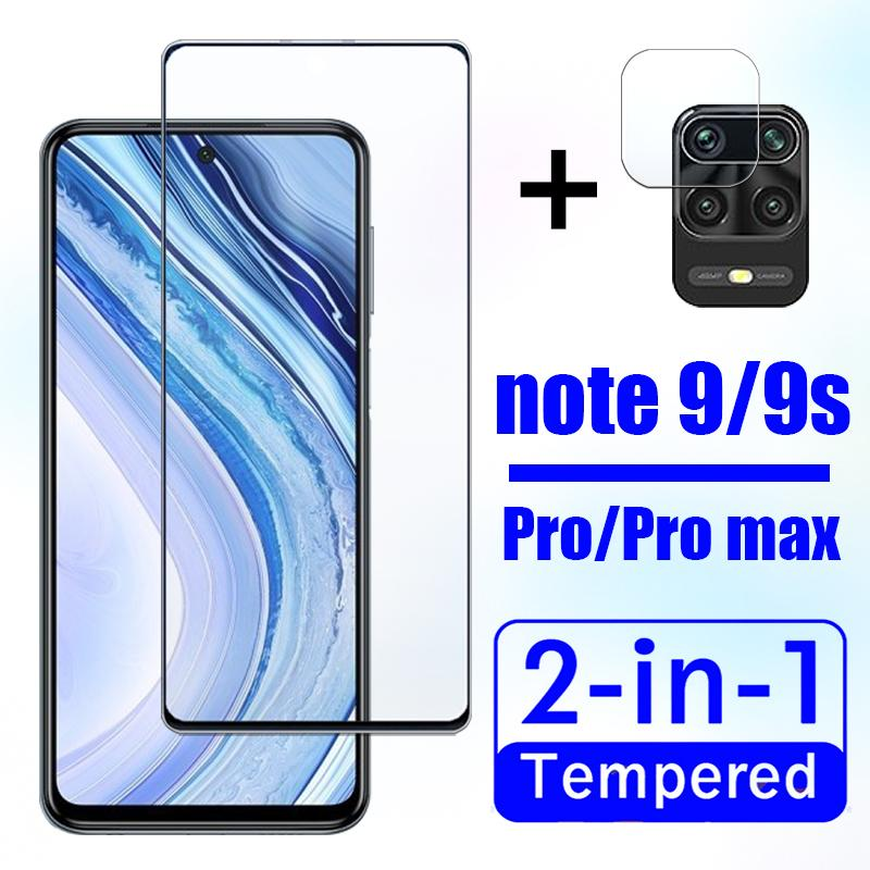2in1 protective glass for Xiaomi redmi note 9 pro screen protector ksiomi radmi note9 9s not 9pro max cam with camera lens glas(China)