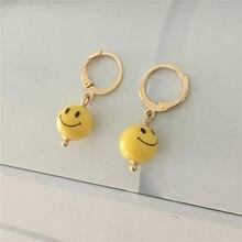 Orecchini a cerchio con ciondolo a forma di palla con sorriso giallo placcato in oro dorato per ragazza accessorio per gioielli da festa Mini romantico carino per bambini