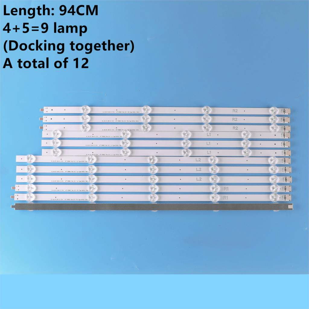 """12 Pieces/set NEW 47"""" LG 47LN5400-CN 47LA620V LED Strip 6916L-1174A 6916L-1175A 6916L-1176A 6916L-1177A,(3*R1,3*R2,3*L1,3*L2),"""