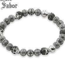 Kobieta Rebel czaszki i krzyż Hero koralik elastyczna bransoletka 2020 srebrny kolor biżuteria dla mężczyzn akcesoria
