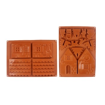 3d Firy House Door Silicone Fondant Mould C^ake Decorating Chocolate Craft Moldutensilios De Cocina Jelly And Candy Mold image