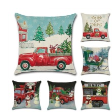 Christmas Retro Tree Red Car Throw Pillow Cushion Covers  kussenhoes Pillowcase housse de coussin Decorative Sofa Fundas Cojines