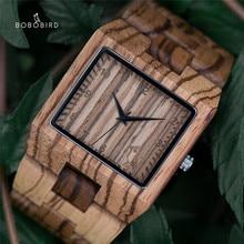 BOBO BIRD montre zèbre en bois pour hommes, Design de marque de luxe, bracelet à Quartz, en bois, cadeau