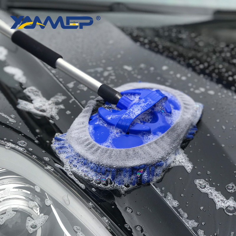 Car Wash Brush Water Flow Car Brush Replaceable Heads Truck Tire Cleaning Handle Brush Windows Car Cleaning Tools Xammep