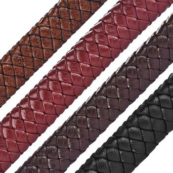 1/3/5M Genuine Leather Cord 12x6mm Red Brown Black Flat Braided for Men Bracelet DIY Jewelry Making Accessories Wholesale