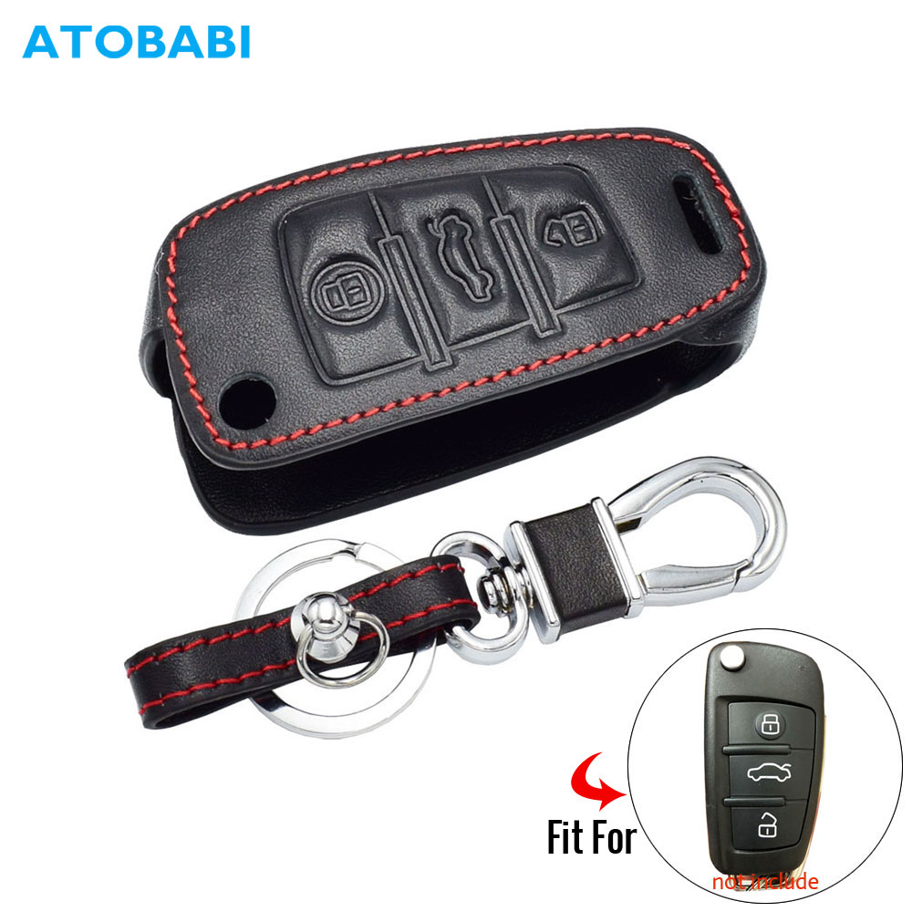 Real Leather Car <font><b>Key</b></font> Cover For <font><b>Audi</b></font> Sline A3 A5 Q3 Q5 <font><b>A6</b></font> <font><b>C5</b></font> C6 A4 B6 B7 B8 TT 80 S6 3 Buttons Folding <font><b>Remote</b></font> Fob Protector Case image