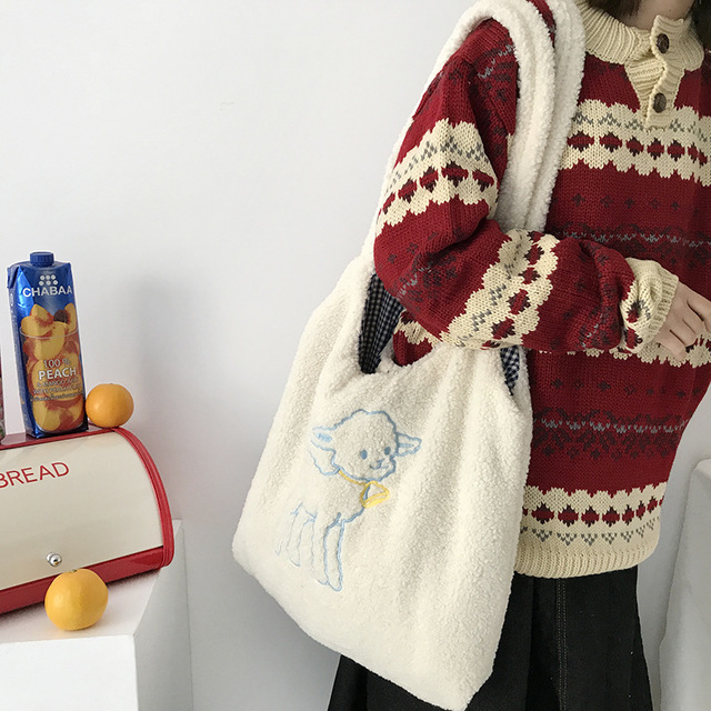 Women's Kawaii Lamb Fabric Shoulder Bag Handbag Tote Large Capacity Embroidery Shopper Bags Cute Bag for Girls New Design 1