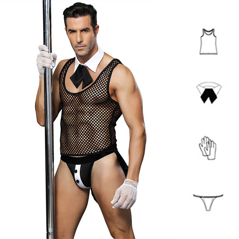 Nightclub Bar Mens Lingerie Butler Waiter Suit Fishnet Mesh Thong Transparent Underwear Erotic Tie Collar Sexy Costumes