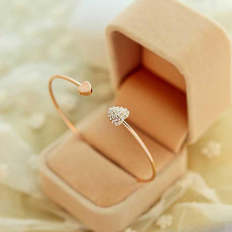 2019 חם חדש אופנה מתכוונן קריסטל זוגי לב Bow צמיד שרוול פתיחת צמידי נשים תכשיטי מתנה נשים צמידים