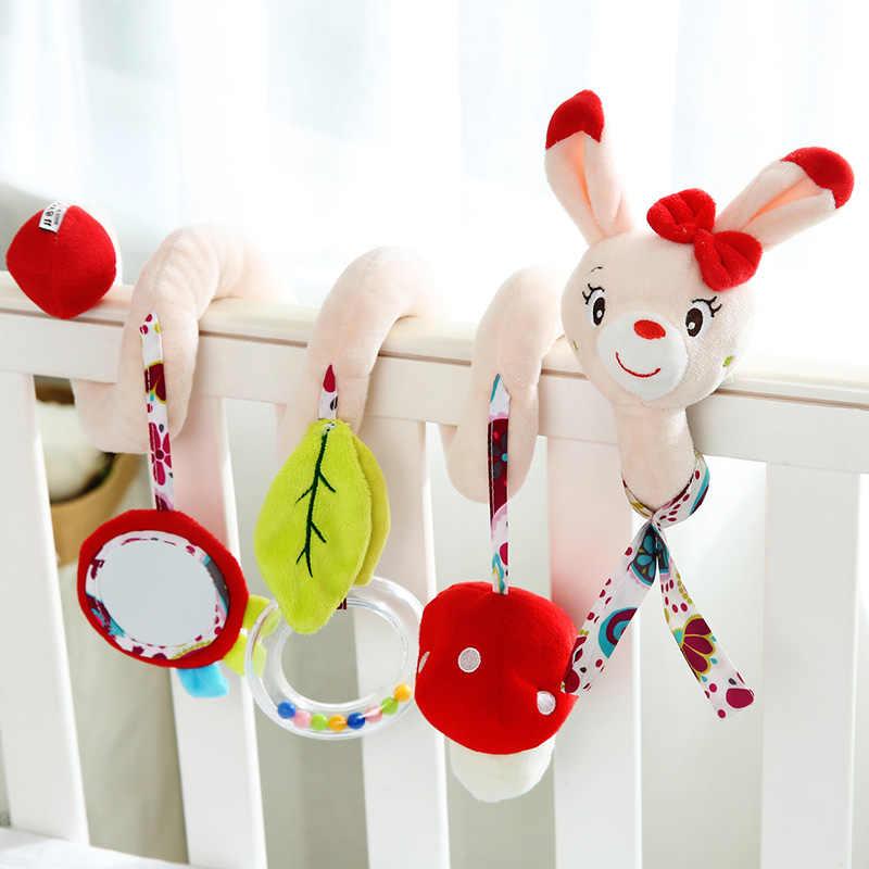 ألعاب الأطفال ل 0-12 أشهر أفخم حشرجة سرير دوامة شنقا المحمول الرضع حديثي الولادة السرير الحيوان هدية سرير بيبي عربة لعِب أطفال قطيفة تُعلق بالسيارات