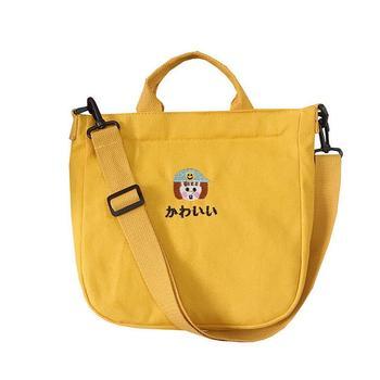 цена на KANDRA 2019 New Wild Canvas Tote Bag Embroidery Cartoon Student Canvas Shoulder Bag White Yellow Black  Student Gift
