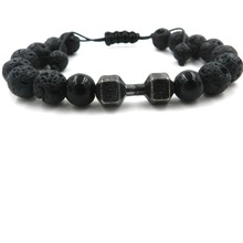 Hign Quality 8mm Black Natural Lava Stone Beads Bracelets Jewelry Imperial Adjustable Energy Dumbbell Yoga Gift