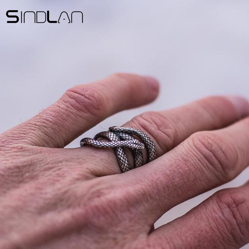 Sindlan Exaggerated Vintage Silver Snake Ring for Men Cool Fashion Punk Male Finger Ring 17mm to 21mm Man Animal Charm Ring