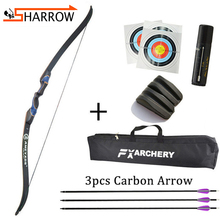 1set 56inch 20-50lbs Recurve Bow Takedown Right Hand Bow Set With 3pcs Carbon Arrow For Shooting Bow Hunting Archery Accessories стоимость