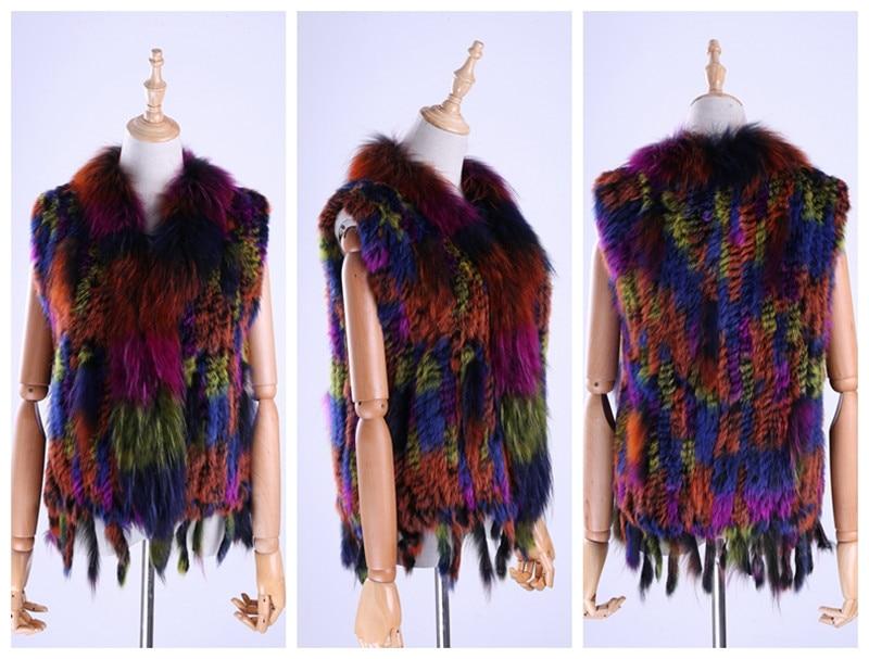 H2482a94b24154eeda94e8714dd8efe9ek Brand New Women's Lady Genuine Real Knitted Rabbit Fur Vests tassels Raccoon Fur Trimming Collar Waistcoat Fur Sleeveless Gilet